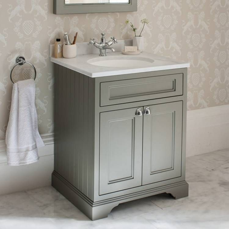 Burlington Olive 650mm Freestanding Vanity Unit With Minerva Worktop Basin Bathroom