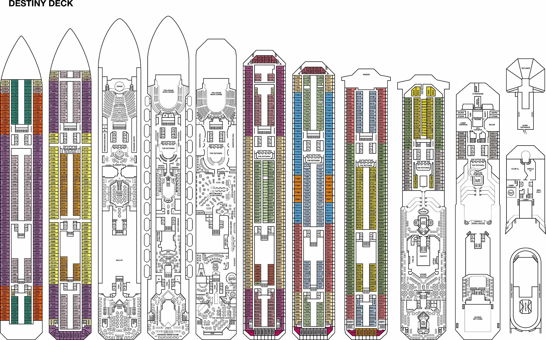 Carnival Cruise Ship Fascination Deck Plans Cruceros Barcos
