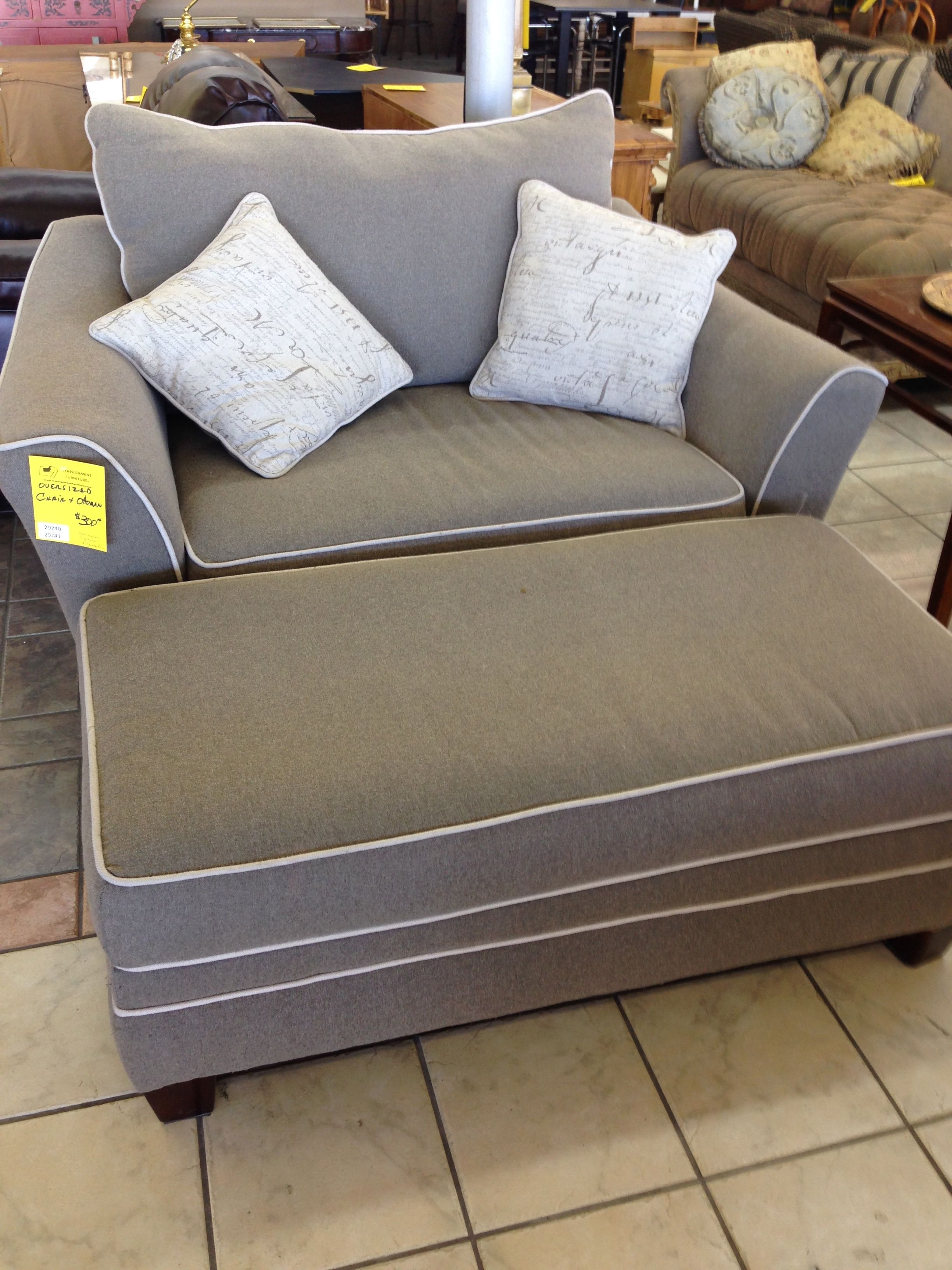Stylish Grey Fabric Oversized Chairs With Rectangle Ottoman In