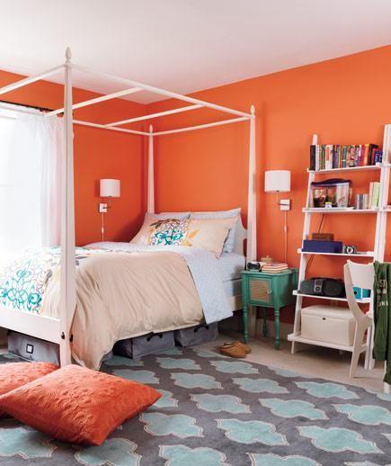Bedroom Colors Teal Bedroom Design Ideas Small Rooms Bedroom Paint Colors Serene Bedroom Colors: 30 Orange Bedroom Ideas. YES!!!! My Favorite Color!