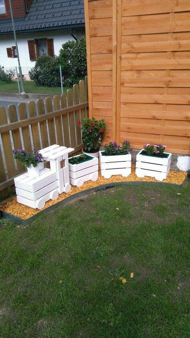 Eisenbahn mit Blumen – Garten deko – – Gartengestaltung ideen
