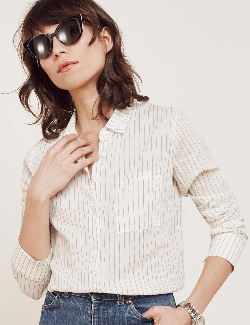 Reformation cream and black striped long sleeved linen shirt