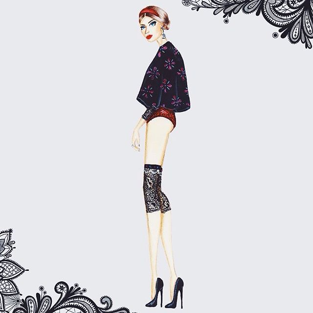 Pose de perfil, rosto 3/4. O que importa é sair da zona de conforto. Nono look da coleção #anneboleynbyfayci #sempredesenhando #fashionillustration #croquidemoda #croqui