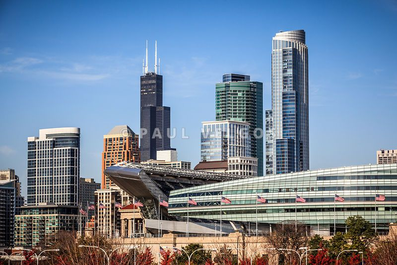 Image Chicago Skyline With Soldier Field And Sears Tower Large Canvas Print Buy Stock Photo Metal Wall Art High Resolution
