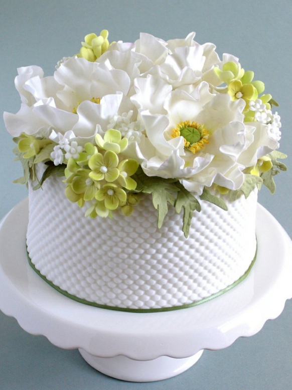 White Cake With White And Green Flowers Preston Bailey Bride Ideas