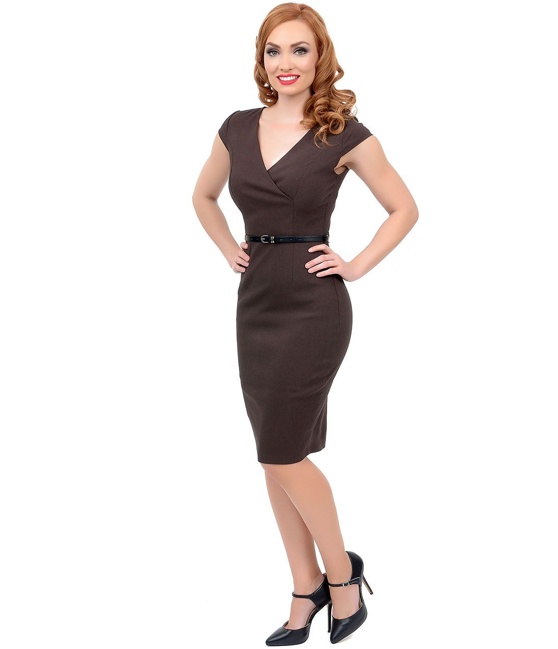 1940s Style Brown Cap Sleeve Belted Stretch Wiggle Dress