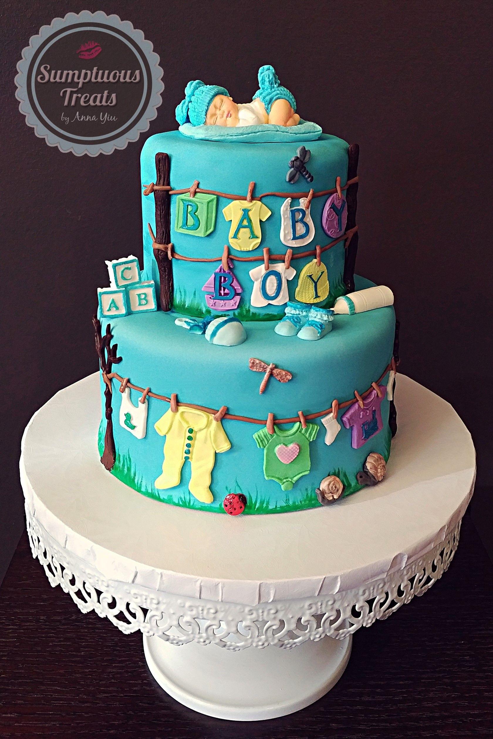 Baby boy shower cake custommadetoorder cakes