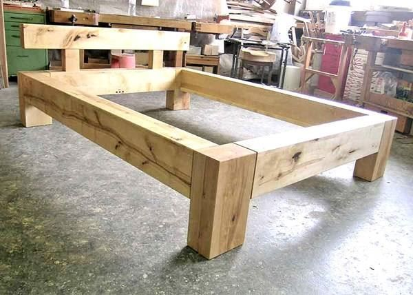 Balkenbett 140 X 200 Aus Birke Rustikal In Jona Kaufen Bei Ricardo Ch Diy Bed Frame Bed Frame Design Diy King Bed Frame