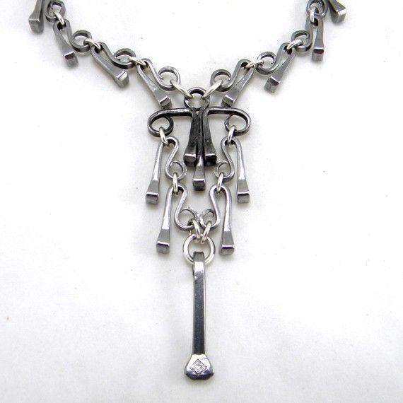 """Horseshoe Nail Necklace with """"Chandelier"""" Pendant"""