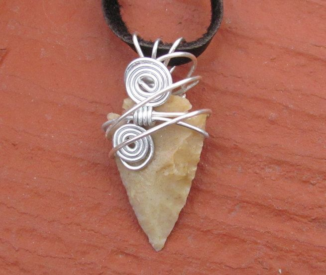 Native American Style Arrow Head - Real Wire Wrapped Stone Arrow Head Pendant