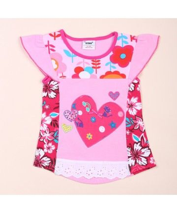 Petal Sleeve Heart Print Lace Decoration Children Brand Blouse
