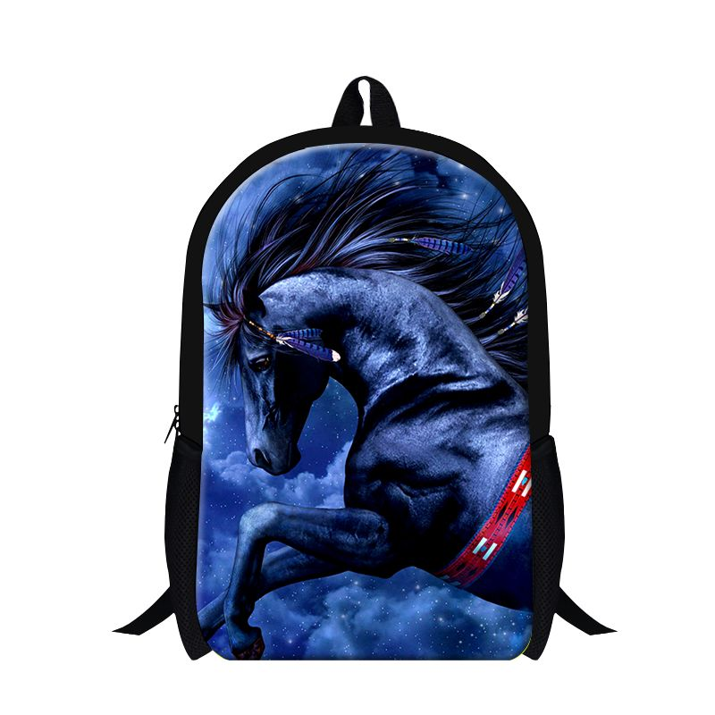 Cool Blue Horse 3D printing School Backpack for boys animal bookbags for  teenagers b519d8e7b7049