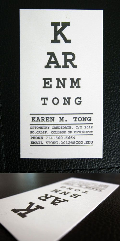 Karen Tong Optometry cute business cards! | The Eyes Have It ...