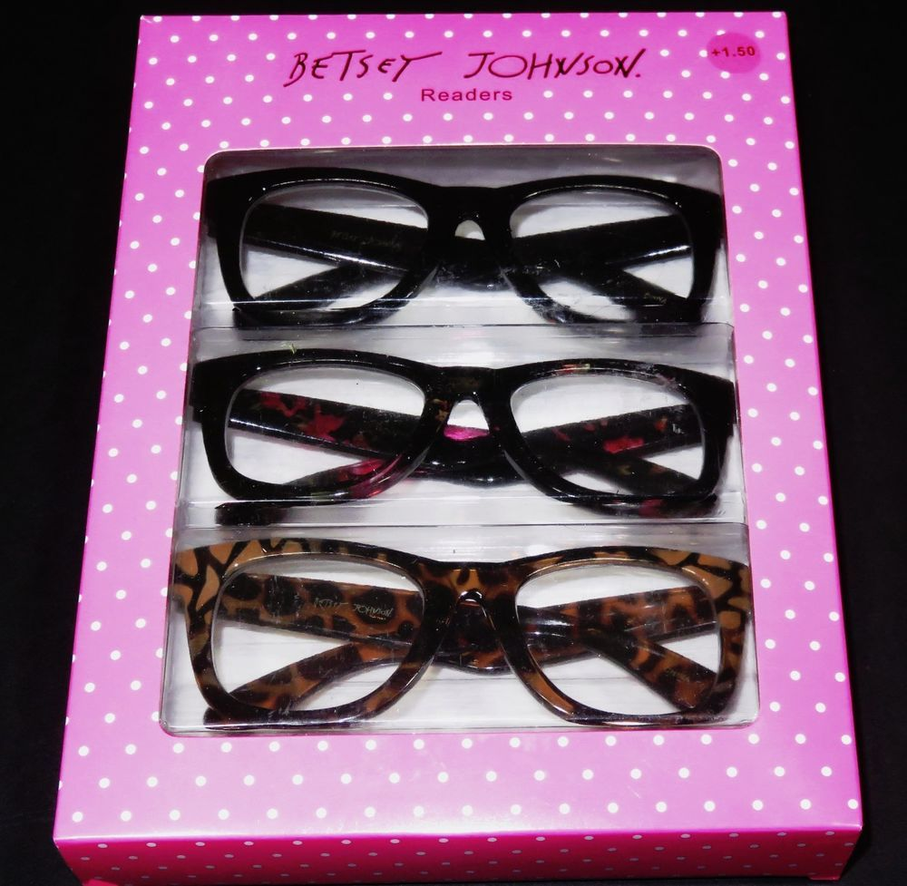 AUTHENTIC BETSEY JOHNSON READERS 3 PAIR 1.50 READING GLASSES OVER ...