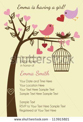 Bird Family Baby Shower Invitation Template   Stock Vector