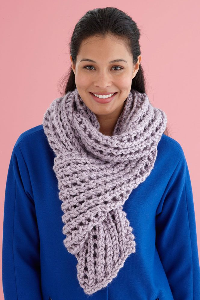 Misty Lace Scarf In Lion Brand Hometown Usa L20136 Knitting