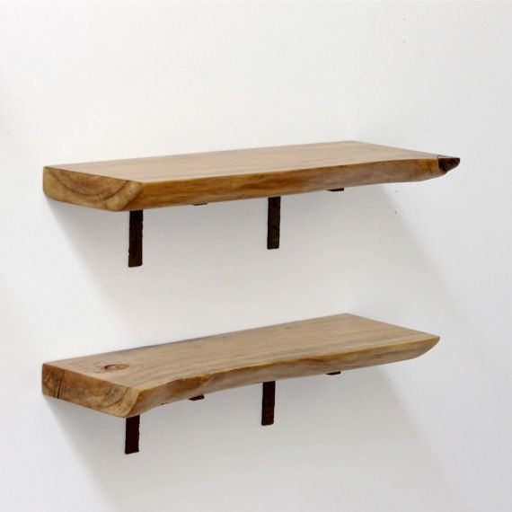 Pin By Reham Hany On Open Shelving: Floating Shelf Live Edge Slab Wood Open Shelving