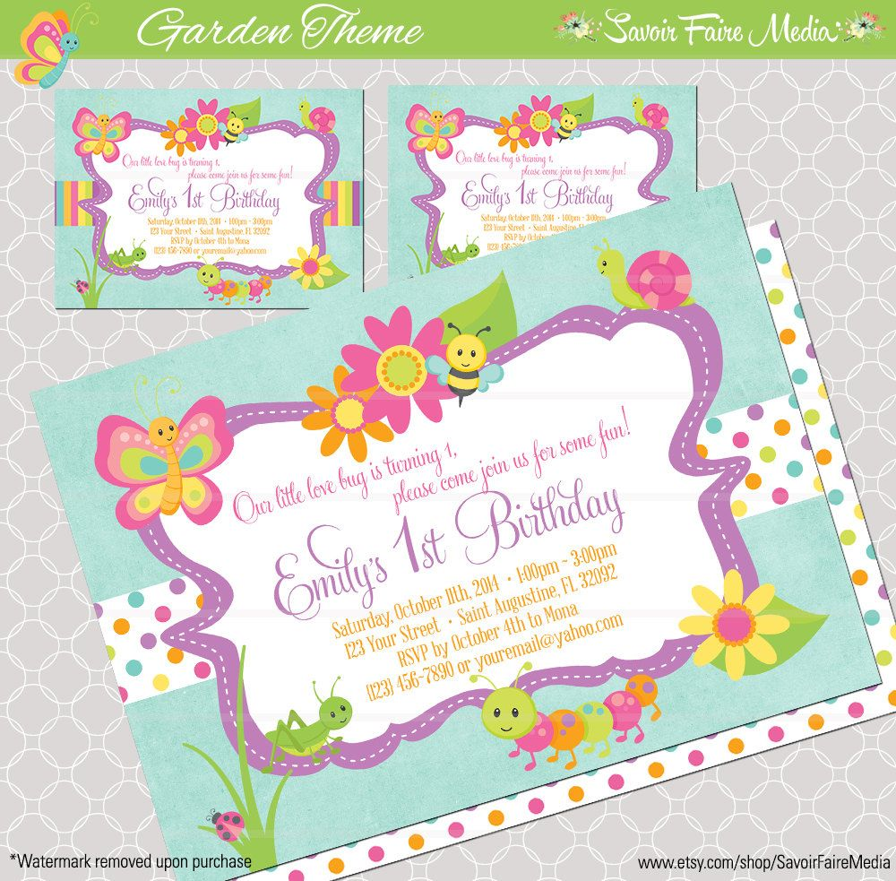 Bug Insect Themed 1st Birthday Party Invitation for Girls Butterfly ...