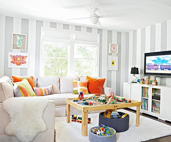 How to keep your family organized organizing playroom - Kid friendly living room decorating ideas ...