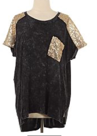 Black And Gold Sequin Short Sleeve Tee – Cupcakes and Cheer Boutique