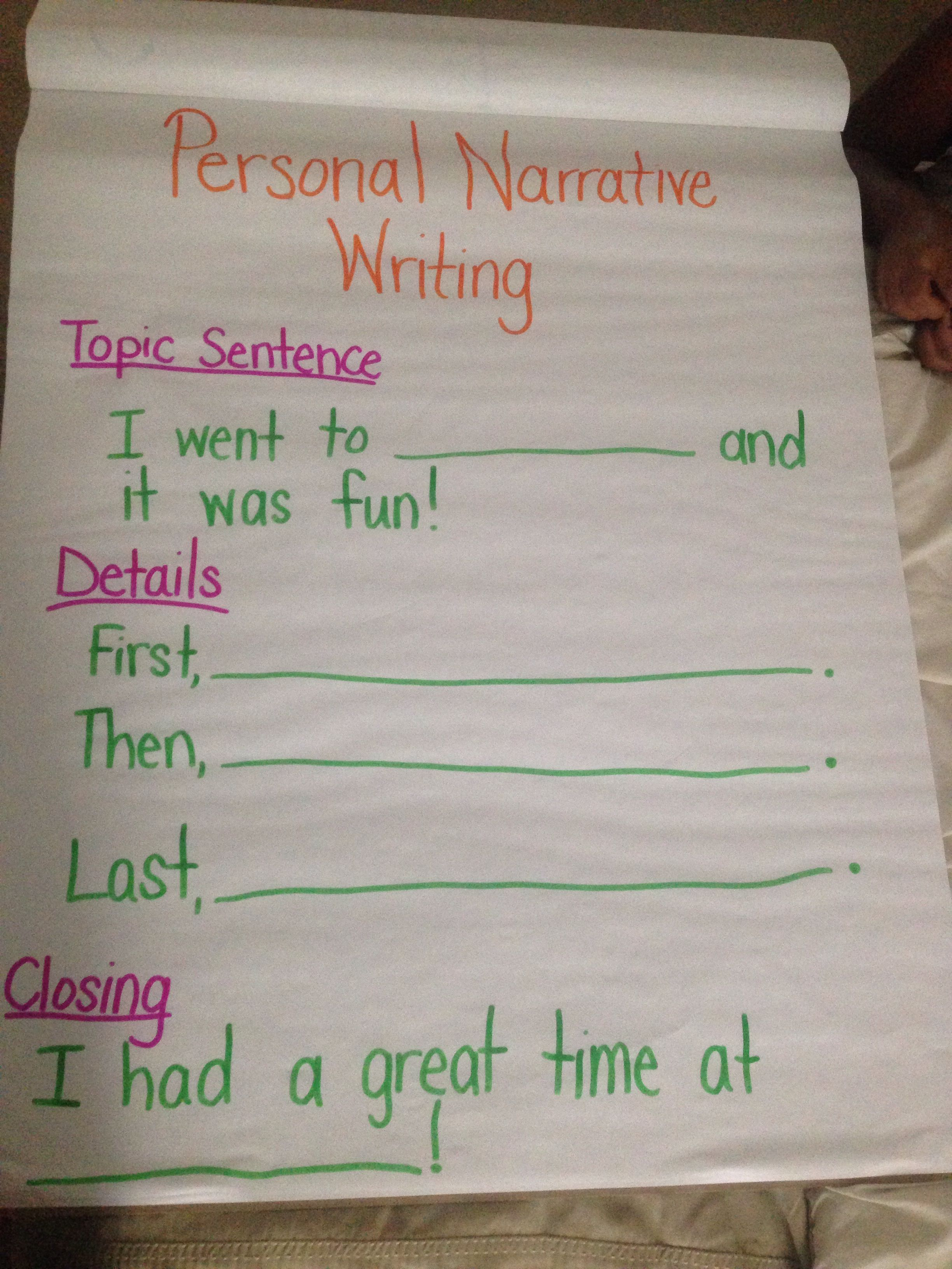 personal narrative writing first grade writer's workshop anchor