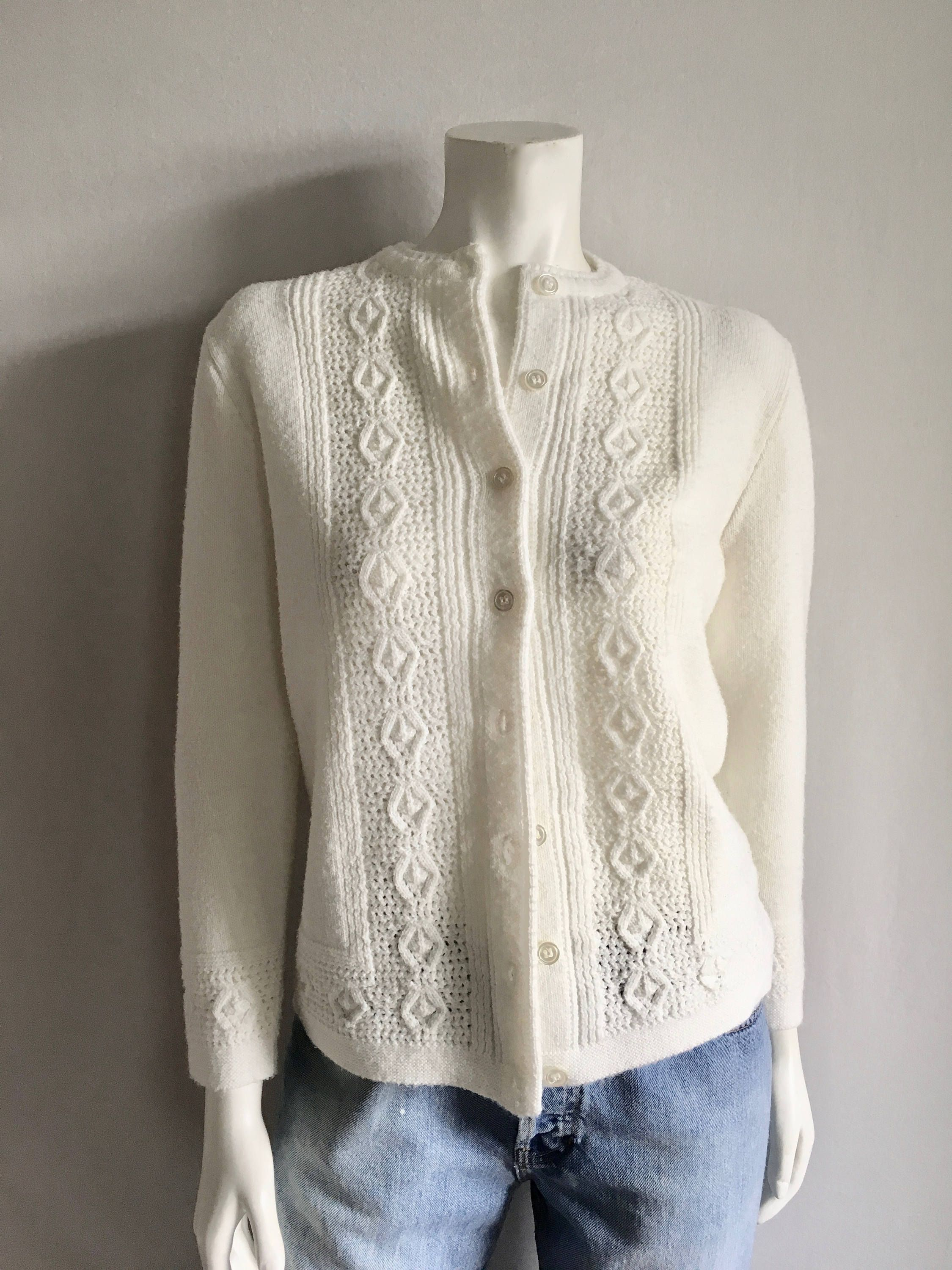 Vintage Women's 60's White Cardigan Sweater by Cuddle Knit (M ...