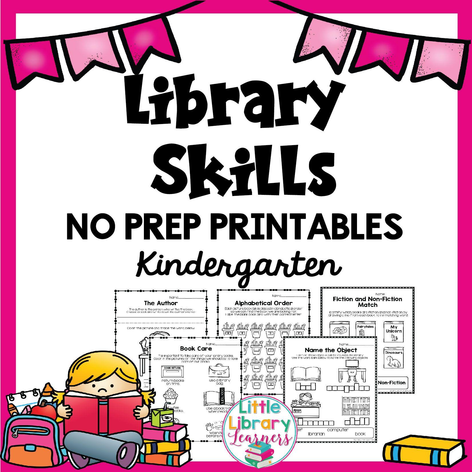 Library No Prep Printables Kindergarten Library Skills Kindergarten Printables Library Lesson Plans [ 1652 x 1650 Pixel ]