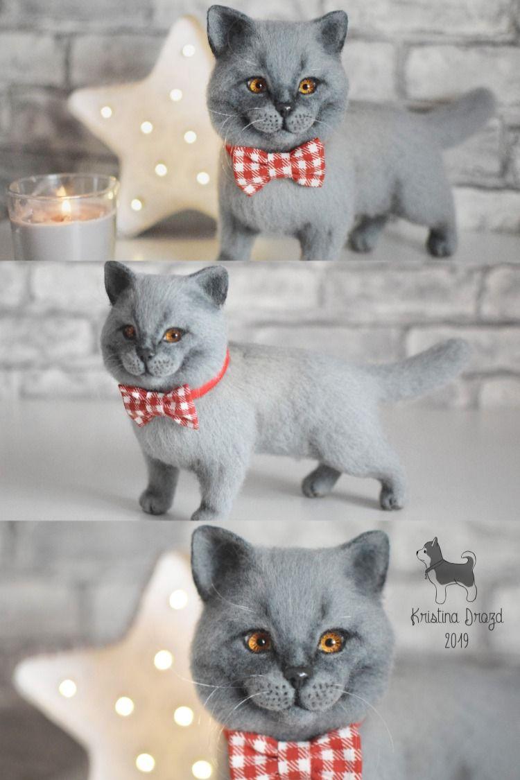 British shorthair cat needle felted custom felt cat