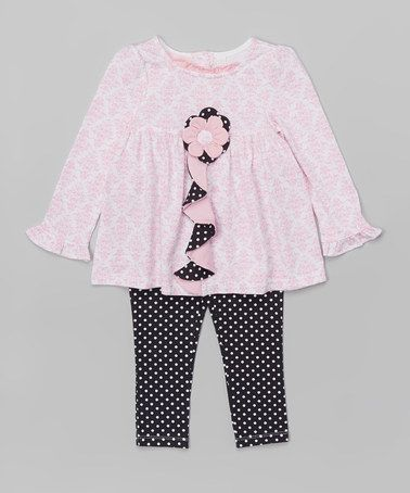 Another great find on #zulily! Pink Floral Ruffle Tunic & Black Dot Leggings - Infant #zulilyfinds