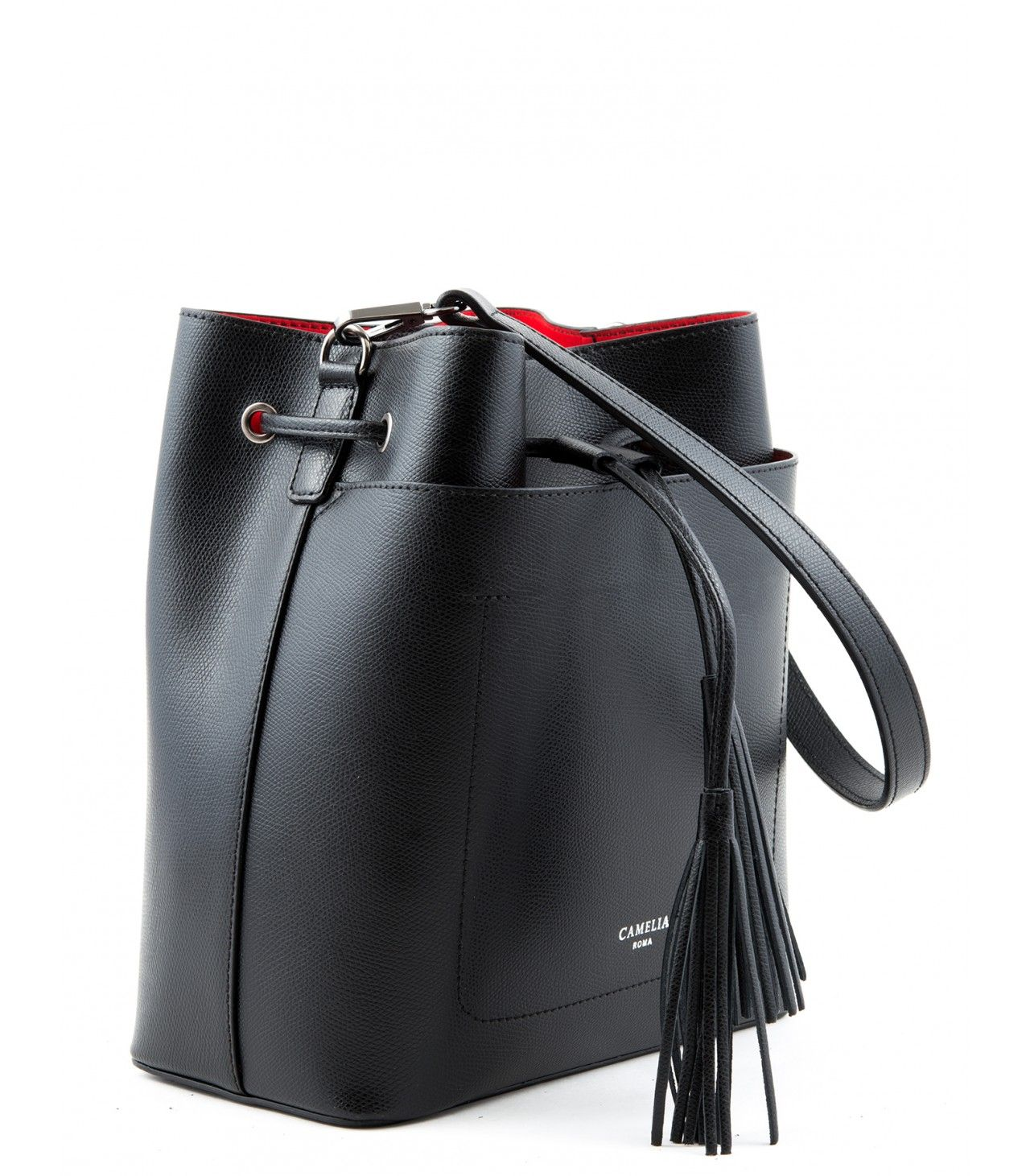 Leather bucket bag. Detachable adjustable shoulder strap ...