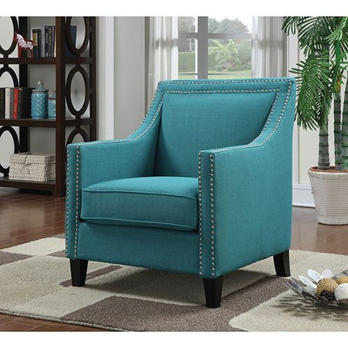 Erica Contemporary Polyester Accent Chair Teal