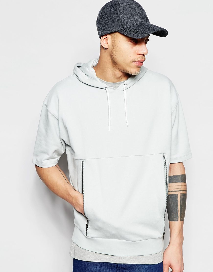 Image 1 Of Asos Short Sleeve Oversized Hoodie With Zip Pockets Acessorios Masculinos Roupas Moletons [ 1110 x 870 Pixel ]