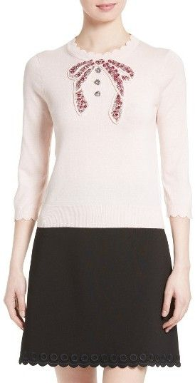 Women's Kate Spade New York Embellished Bow Sweater | Teacher ...
