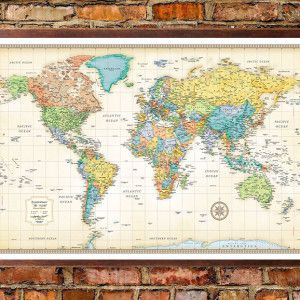 Rmc classic edition world wall map poster wall maps walls and flats rmc world classic framed on wall gumiabroncs Image collections