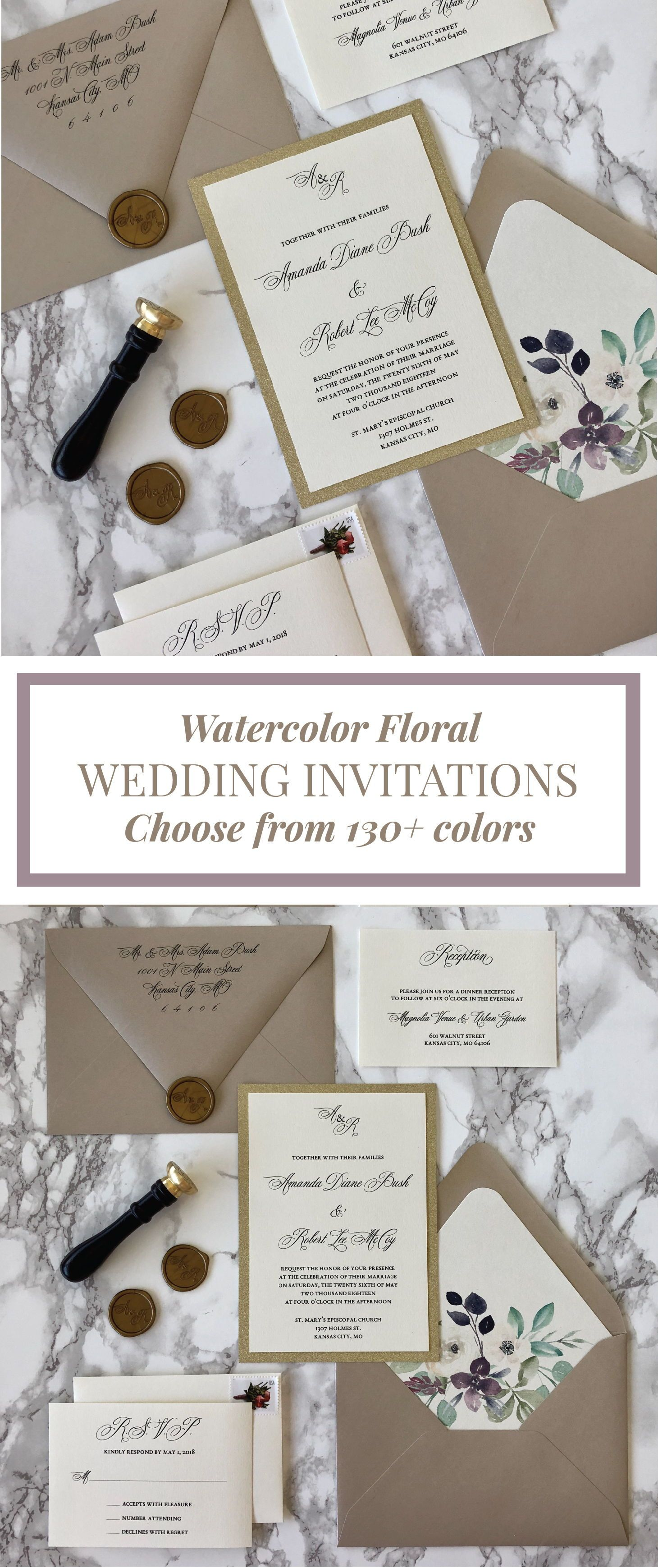 Floral And Gold Glitter Wedding Invitation With Wax Seal Wedding Invitations Simple Classic Wedding Invitations Glitter Gold Easy Diy Wedding Invitations