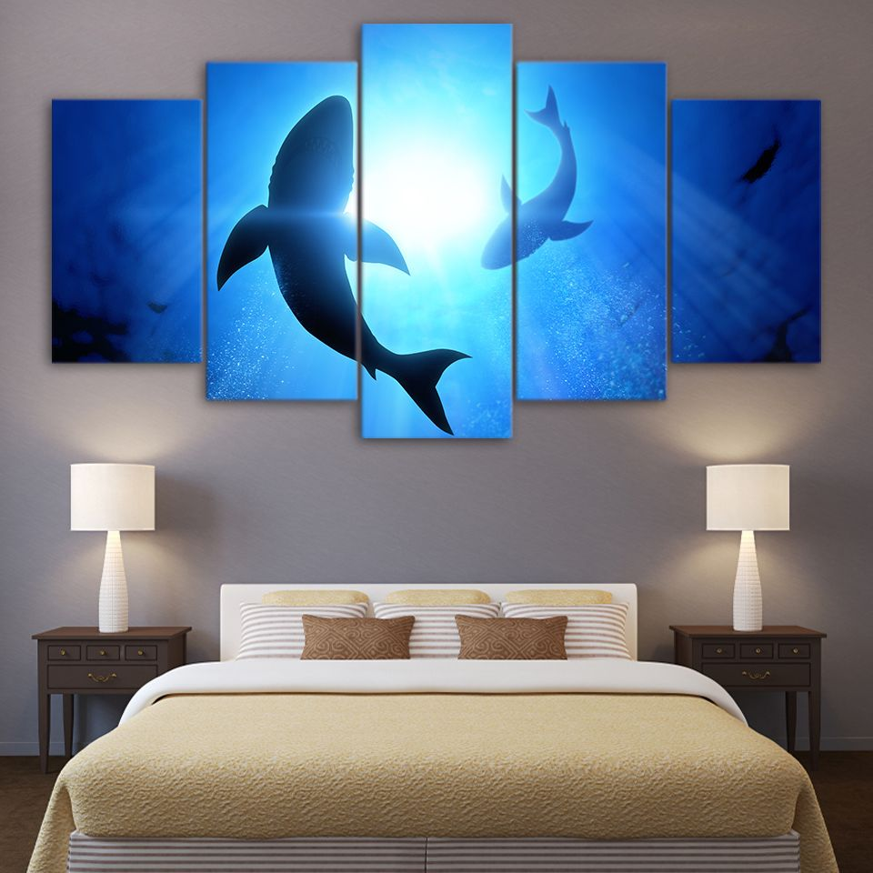 Cheap Pared Decoración para el hogar 5 azul océano tiburón animal ...