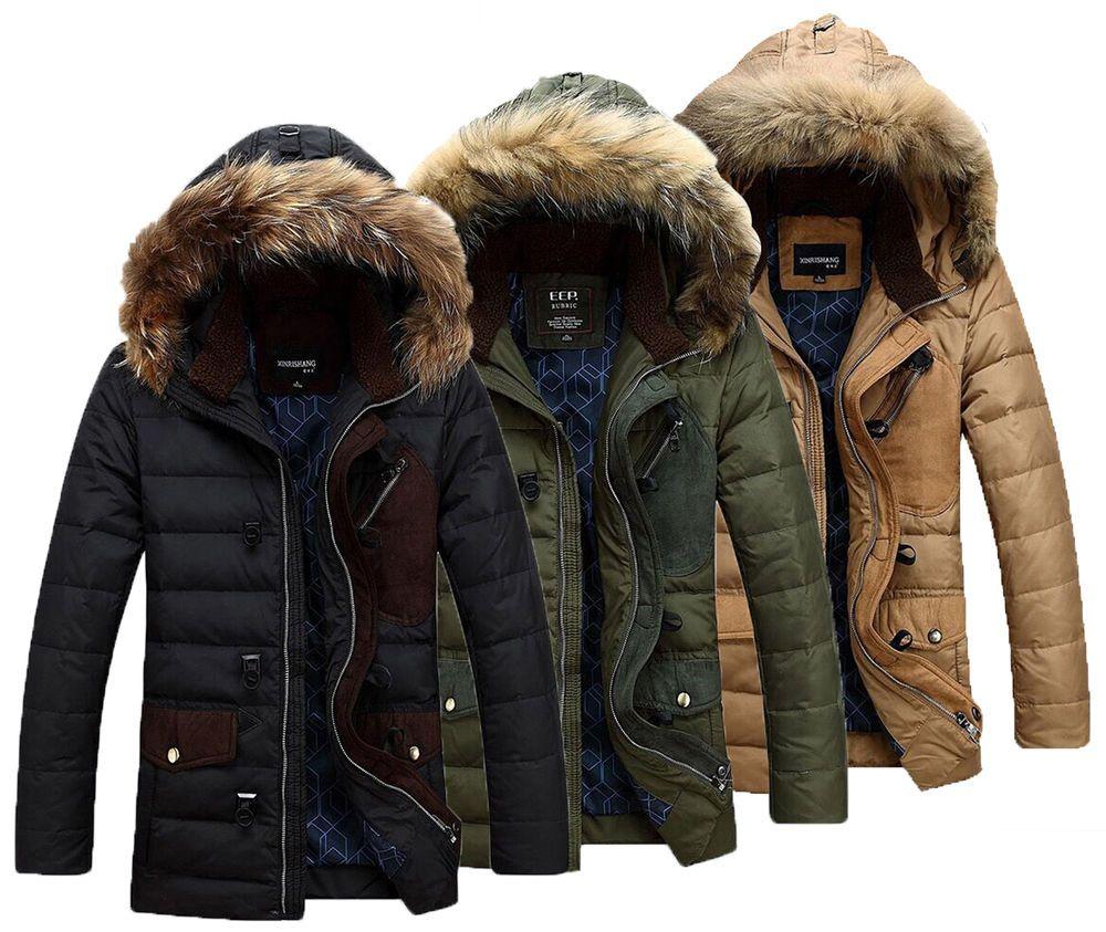 Men Warm Parka Fur Collar Hooded Winter Thick Duck Down Coat Outwear Down Jacket Men S Coats And Jackets Mens Winter Coat Coat [ 843 x 1000 Pixel ]