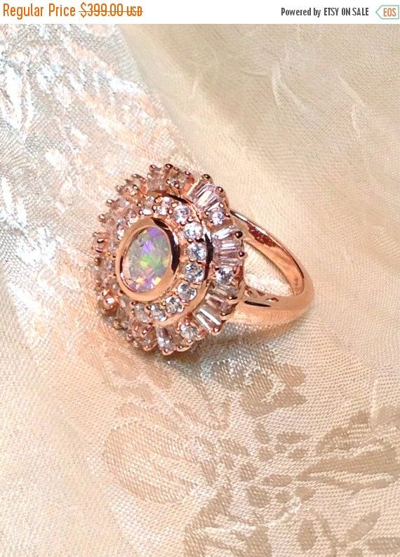 SALE 20 OFF Opal Statement Ring in Rose Gold Handmade Jewelry With