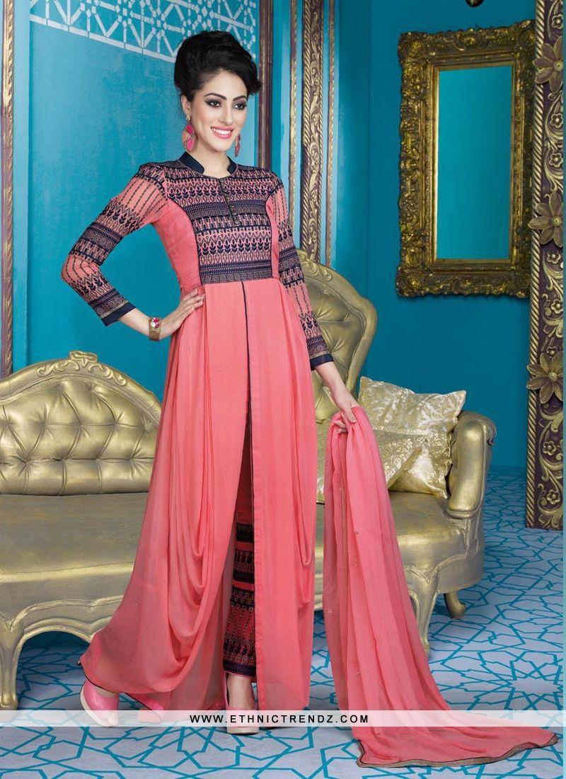 Ravishing resham work pink designer suit eiduladha special