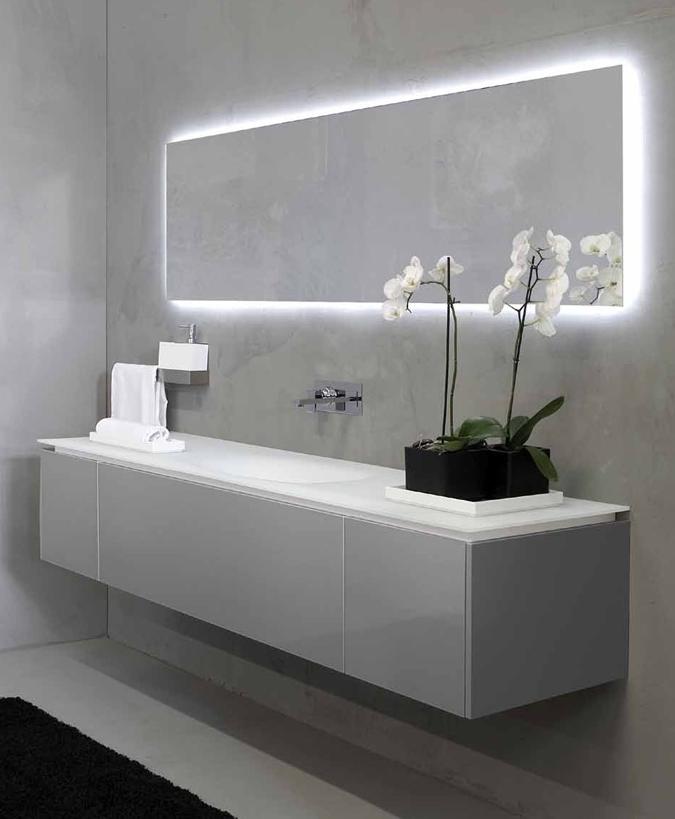 Modern Bathroom Mirror And Sink Love The Back Lighting On