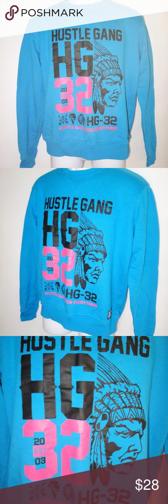 Hustle Gang Indian Chief Sweatshirt Blue Pink Mens Hustle Gang Indian Chief Sweatshirt Blue Pink Mens M Preown Sweatshirts Sweatshirt Shirt Sweatshirts Hoodie [ 1740 x 580 Pixel ]