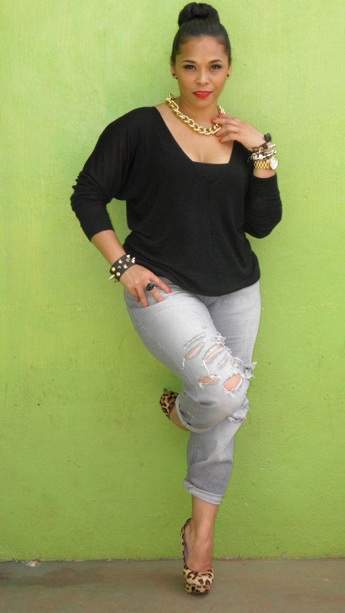 DIY: Distressed Boyfriend Jeans full figure/curvy style | Style ...