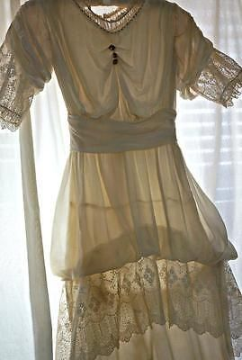 Antique-vtg-Edwardian-silk-wedding-dress-Tambour-lace-hobble-skirt-XS