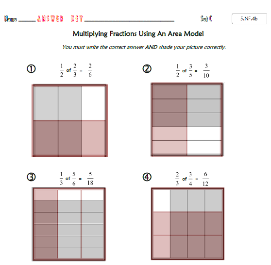 Common Core Math 5 Nf 4b   Fraction Multiplication With Area Models