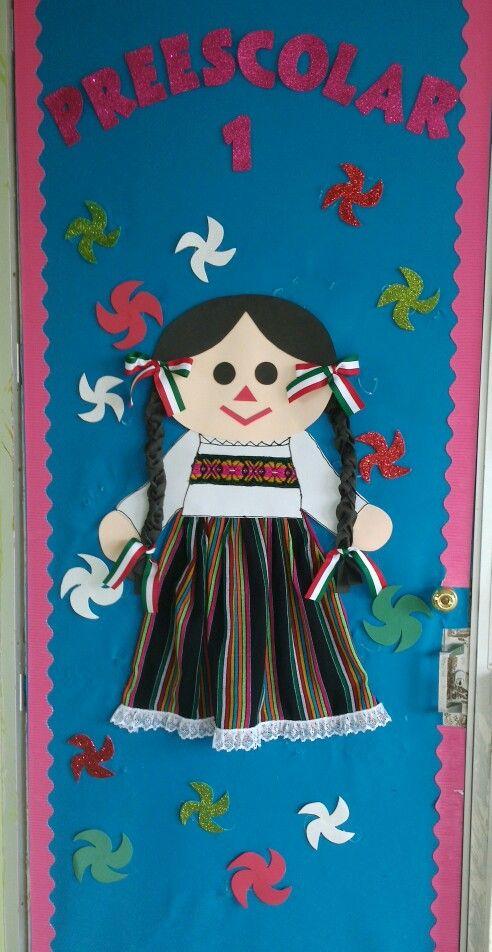 Puerta decorada de fiestas patrias mexican classroom door for Puertas decoradas 16 de septiembre