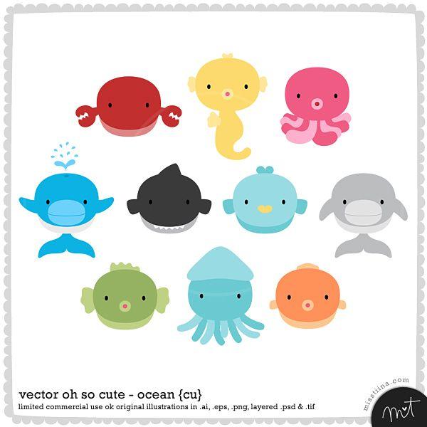 vector ocean animals baby pinterest cute cute baby animals