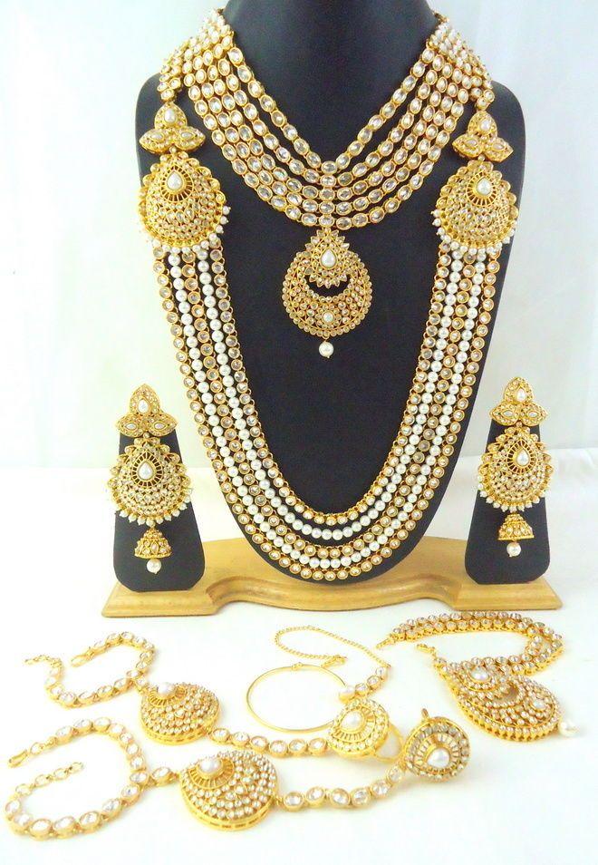 Reverse AD Gold Tone Rose Cut Polki Pearl Dulhan Wedding Indian