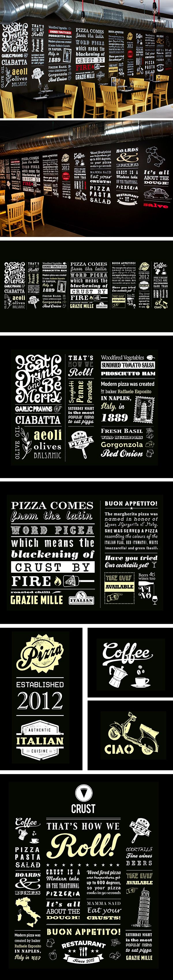 Typographic Wall For Pizza Resturant I Love Crust Pizza Design Pizzeria Design Restaurant Decor