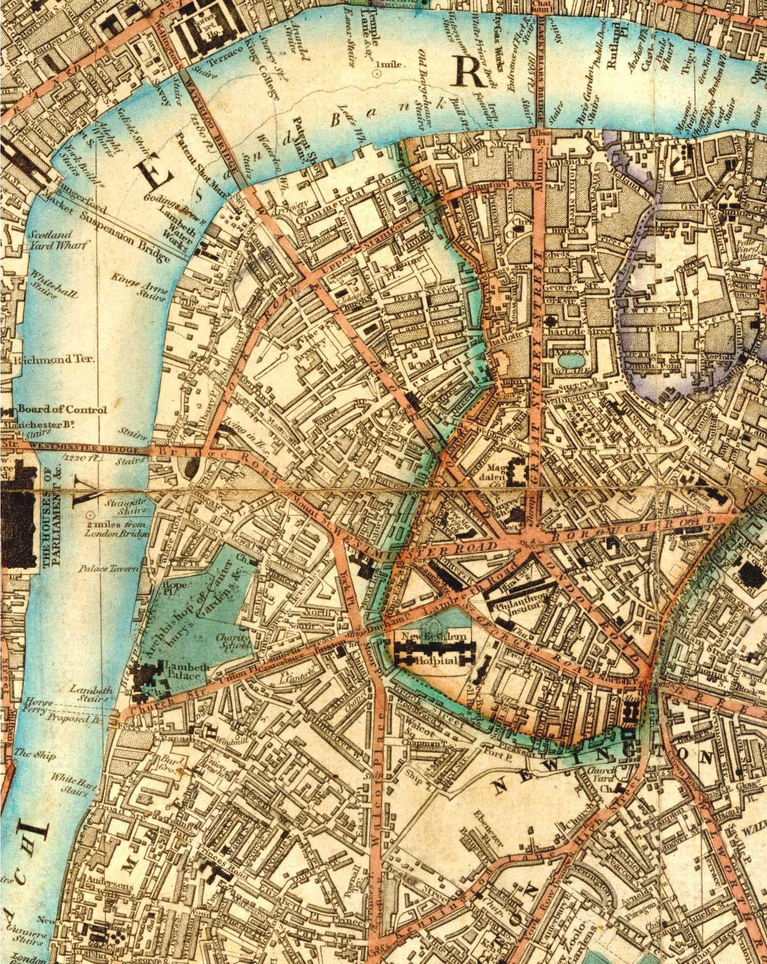 1844 Map of Lambeth North and Waterloo Southwark London I love