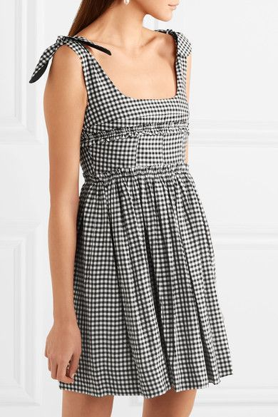 Ballerina Gingham Crepe Mini Dress - Black AlexaChung Order Sale Online b8WrANidQ